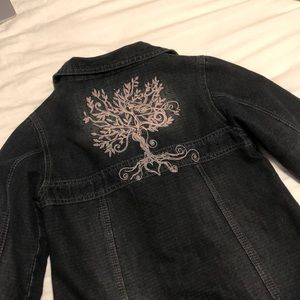 Girls Black Jeans Jacket Tree Design Size 12